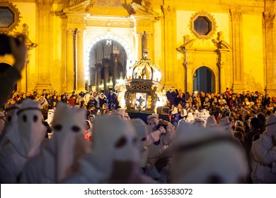 LEONFORTE, SICILY - APRIL, 19: Christian brethren during the traditional Good Friday procession on April 19, 2019