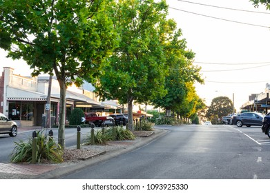 Leongatha, Australia - January 28, 2018: Treelined McCartin Street in the downtown district of Leongatha, a regional centre in South Gippsland.