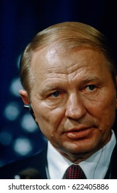 Leonid Kuckma the President of the Ukraine delivers remarks at signing ceremony of space accords in room 450 of the OEOB at the White House, Washington DC., November 21, 1994.