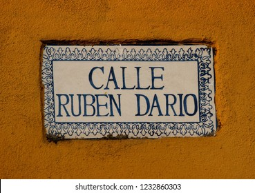 Leon/Nicaragua - February 6, 2013: Street name sign of Ruben Dario street in Leon, Nicaragua. Dario was a Nicaraguan poet who initiated the Spanish-American literary movement known as modernismo.