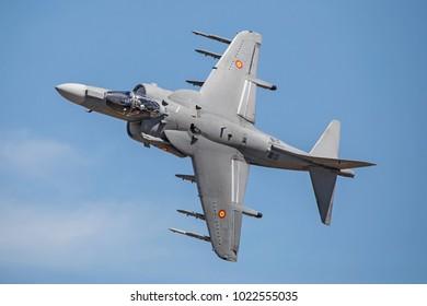 LEON-SPAIN - JUNE 11: AV-8B Harrier II Plus during Air Festival XXV Anniversary ABA Leon, on June 11, 2017 in LEON,Spain.