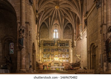 LEON,SPAIN - MAY 16,2019 - View at the Altar of San Isidoro Basilica in Leon. Leon is the capital of the province of Leon, located in the northwest of Spain.