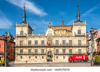 LEON,SPAIN - MAY 16,2019 - View at the Building of City hall at Mayor place in Leon. Leon is the capital of the province of Leon, located in the northwest of Spain.