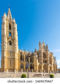 LEON,SPAIN - MAY 16,2019 - View at the Cathedral (The House of Light) in Leon. Leon is the capital of the province of Leon, located in the northwest of Spain.