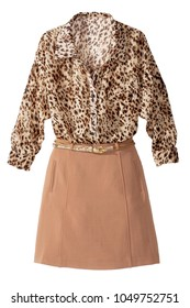 leopard print blouse with a line skirt
