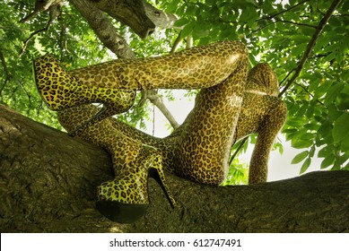 Leopard Print Zentai Fetish Catsuit Girl on the Tree