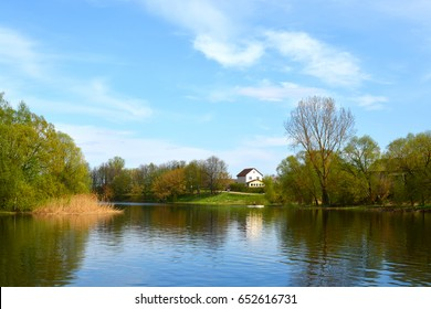 Lepel, Belarus: spring city landscape with the lake