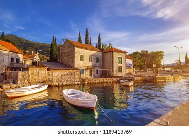 Lepetane, Montenegro - 09/10/2018 - sunset in Lepetane, a small fishing village with a ferry port, located in Kotor Bay (Boka Kotorska)