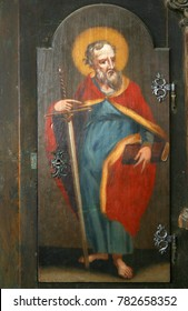 LEPOGLAVA, CROATIA - MARCH 17: Saint Paul the Apostle, picture on a wardrobe in the sacristy of the church of the Immaculate Conception in Lepoglava, Croatia on March 17, 2017.