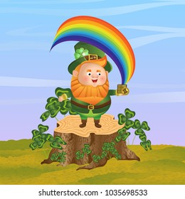 Leprechaun in a green hat stands on a stump and holds in his hand a pile of coins from which the rainbow comes out. Thickets of clover, sky. St.Patrick's Day. Cute raster character and landscape
