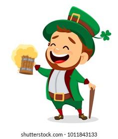 Leprechaun with a pint of beer. Saint Patrick's Day greeting card. St.Patricks Day celebration. Raster illustration