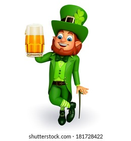 Leprechaun stands with beer glass for patricks day