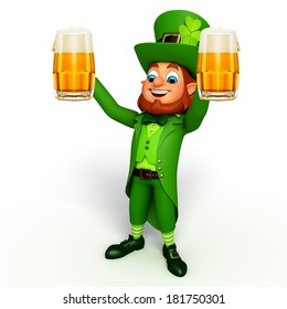 Leprechaun stands with beer glasses for patricks day