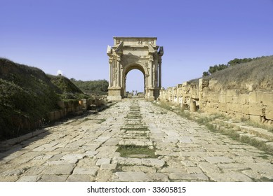 Leptis Magna, Libya. Roman Cobbled road leading to the Arch of Septimius Severus.