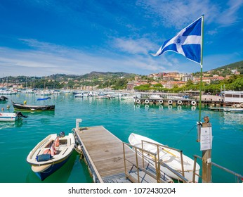 LERICI, IT - Apr 14, 2018 - View of the port of Lerici, Golfo dei Poeti, near the Cinque Terre, Liguria. Pearl of the Eastern Riviera, overlooking the Gulf of the Poets.