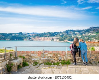 LERICI, IT - Apr 14, 2018: View of the port of Lerici, Golfo dei Poeti, near the Cinque Terre, Liguria. Pearl of Gulf of the Poets, in bay dominated by Castle of 1152. One of seaside Liguria villages