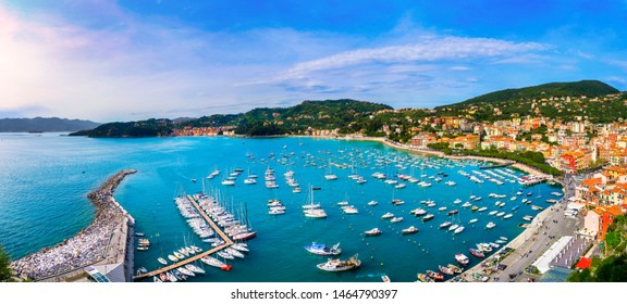 Lerici colorful village. Harbor, sea bay and boats. Five lands, Cinque Terre, Ligury Italy Europe.