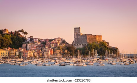 Lerici, Italy - April 17, 2017. The harbour of Lerici under the castle at sunset.