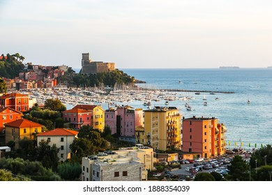 Lerici, Italy - Circa September 2018. Beautiful view of town Lerici on Ligurian coast of Italy in province of La Spezia.