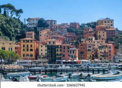 LERICI, ITALY - JULY 29, 2017: Lerici, La Spezia, Liguria, Italy: the historic colorful houses and the harbor