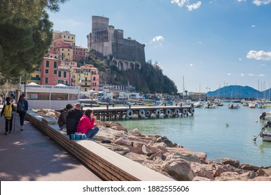 Lerici, Italy - March 7 2020: Lerici is a town and in the province of La Spezia in Liguria.