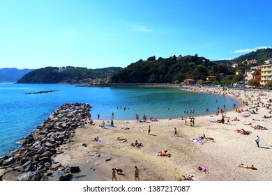 Lerici, Italy - May 17, 2017: view of Lerici on Ligurian coast of Italy, Europe. Castle of Lerici and port of Lerici. Beautiful colorful cityscape traditional Italian architecture.