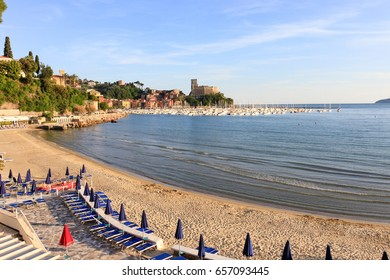 Lerici, Italy, -  May 21, 2017: the shore of the marine village of Lerici in Italy, on the background its medieval castle.