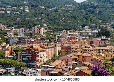 LERICI, LA SPEZIA, ITALY - JULY 19, 2014: cityscape of Lerici, small town in the Gulf of La Spezia, tourist destination in every season of the year, Liguria, Italy, Europe