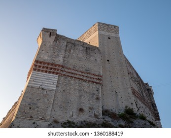 Lerici (La Spezia), Italy - March 24 2019: the castle (a polygonal-based fortification that stands in a dominant position on the rocky promontory of the inlet of Lerici)