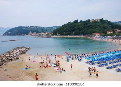 Lerici, La Spezia, Liguria / Italy - June 08 2016: A beach at Lerici.