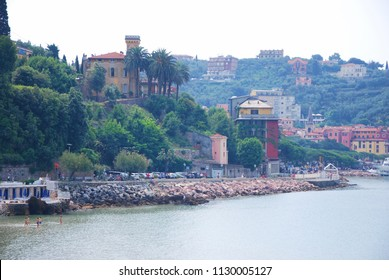 Lerici, La Spezia, Liguria / Italy - June 08 2016: Town of Lerici and Ligurian sea.