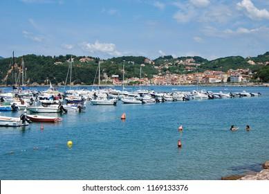 Lerici, La Spezia, Liguria / Italy - June 15 2018: Harbour of Lerici.
