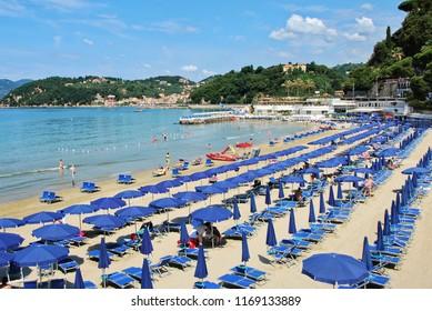 Lerici, La Spezia, Liguria / Italy - June 15 2018: Beach at Lerici.