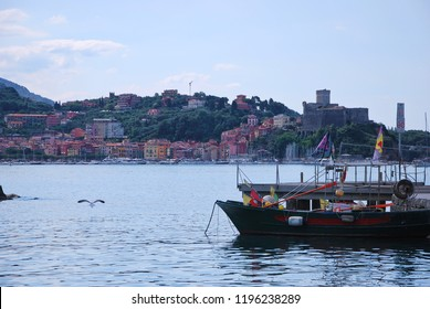 Lerici, La Spezia, Liguria / Italy - June 15 2018: Town of Lerici and the castle from San Terenzo.