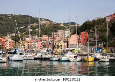 LERICI, LIGURIA, ITALY  - APRIL 21 : Boats in the harbour in Lerici in Liguria Italy on April 21, 2019. Unidentified people