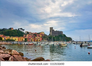 Lerici /Liguria - Italy / May 2018 : Beautiful view of town Lerici on Ligurian coast of Italy in province of La Spezia. View from the sea in Castle of Lerici and port.