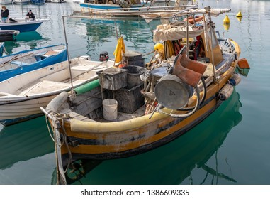 LERICI, LIGURIA/ITALY  - APRIL 21 : Boats in the harbour in Lerici in Liguria Italy on April 21, 2019. Two unidentified people