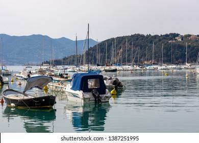 LERICI, LIGURIA/ITALY  - APRIL 21 : Boats in the harbour in Lerici in Liguria Italy on April 21, 2019