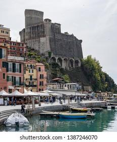 LERICI, LIGURIA/ITALY  - APRIL 21 : View of the castle in Lerici in Liguria Italy on April 21, 2019. Unidentified people