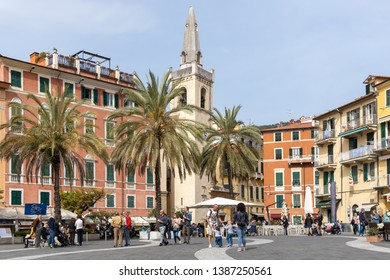 LERICI, LIGURIA/ITALY  - APRIL 21 : View of buildings around the main square in Lerici  Liguria Italy on April 21, 2019. Unidentified people