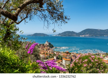 Lerici town and Portovenere or Porto Venere in the background with the Palmaria, Tino and Tinetto Island. In the Gulf of La Spezia, Liguria, Italy, Europe