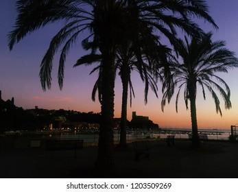 Lerici views at sunset time . Lerici , Liguria , Italy . Amazing seascape .