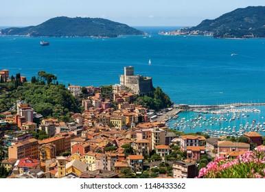 Lerici village and Portovenere or Porto Venere in the background with the Palmaria Island. In the Golfo dei Poeti (Gulf of poets or Gulf of La Spezia) Italy, Europe