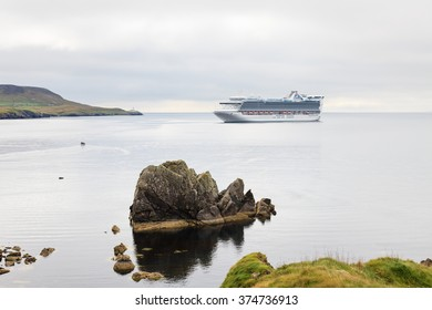 LERWICK, SHETLAND ISLANDS - SEPTEMBER 8:  A view of the cruise ship Caribbean Princess moored off the Knab, Lerwick on the Shetland Islands, Scotland on September 8, 2015.