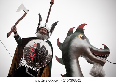 Lerwick, Shetland Isles, Scotland, UK. 27th January 2015. 2015 Up Helly Aa Guizer Jarl Neil Robertson (aka Olav Haraldsson) photographed on Up Helly Aa day in Shetland.