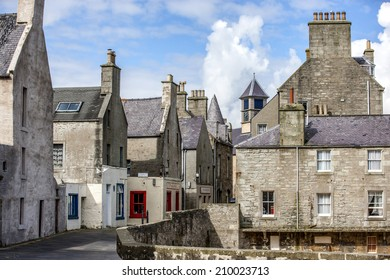 Lerwick, Shetland, Scotland, United Kingdom. Street View of the old city of 400 years (17th century) with its characteristic granite houses in northern Europe.