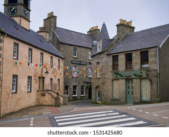Lerwick, UK - Sept 22, 2019: The Queens Hotel and other buildings in Commercial Street in the town centre of Lerwick, capital of Shetland, Scotland, UK, on a quiet Sunday afternoon.