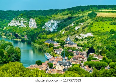 Les Andelys commune on the banks of the Seine in Upper Normandy, France