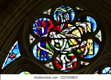 Les Andelys, France - march 21 2018 : stained glass window of the collegiate church Notre Dame