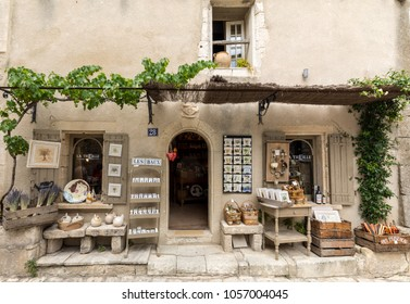 Les Baux de Provence, France - June 26, 2017: Tourist shop in Les Baux de Provence, Provence,  France